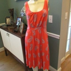 Boden Orange viscose Blend Sleeveless Dress US 4